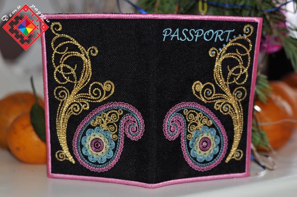 Дизайн машинной вышивки обложки на паспорт