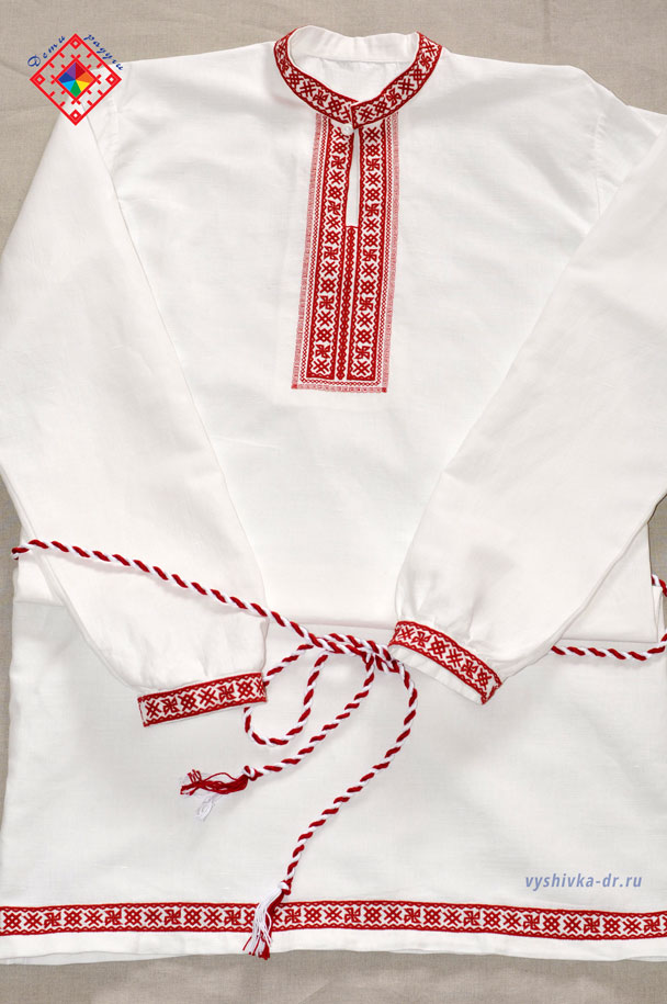 Вышивка на рукавах мужской рубахи 9